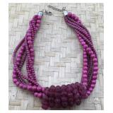 Hot Pink Twisted Bead Necklace