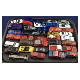 Tray of Small Toy Cars and Trucks