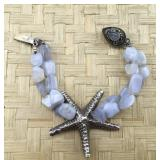 Sterling & Opalescent Moonstone Starfish Bracelet