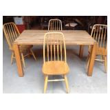 Oak kitchenette dining table and chairs