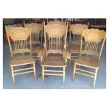 Quality press back oak chair set