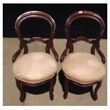 Pair Victorian antique walnut balloon back chairs