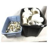 Two totes of PVC pipe/fittings