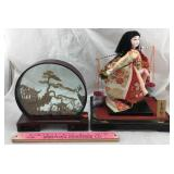 Oriental Cork Art & Water-Carrier Woman Figure