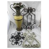 Metal Vase & Metal Wall Hangings