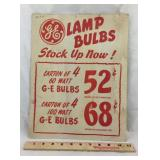 GE Lamp Bulbs Advertising. Cardboard 14 In high