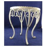 Small Heavy White Iron Plant Stand or Stool