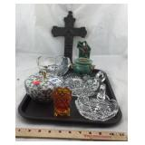 Vintage glassware and wall pocket and Cross