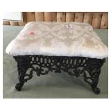 Short Black Upholstered Wrought Iron Stool