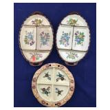 Trio of Vintage Hand Painted Divided Dishes