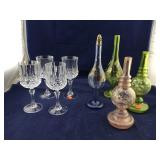 4 Crystal Goblets and Painted Glass Decanters