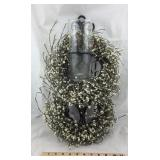 Metal Wall Hanging With White Wreath And Glass