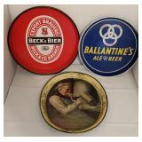 Three Vintage Advertising Beer Trays