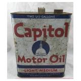 Vintage Capitol Motor Oil Can - Two Gallons