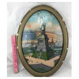 Vintage Statue of Liberty Reverse Glass Painting