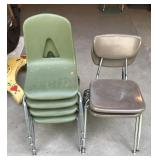 4 Green School Chairs and 2 Tan School Chairs