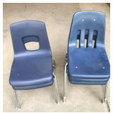 5 Blue School Chairs