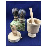 Wood Mortar and Pestle and Unused S & P Set