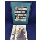 American Girl Kaya Books and Framed Foreign Stamps
