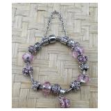 Pink Pandora Type Bracelet With Sterling Accents