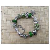 Green Silver Tone Sea Themed Pandora Type Bracelet