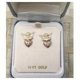 Dainty 14K Rose and Yellow Gold Angel Earrings