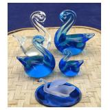 4 Art Glass Swans Plus 1