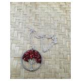 Silver Tone Coral Tree of Life Necklace