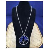Silver Tone Lapis Tree of Life Necklace