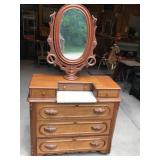 Vintage Dresser with Marble Top and Oval Mirror