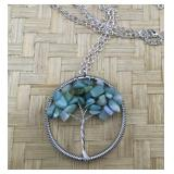 Silver Tone Adventurine Tree of Life Necklace