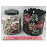 Jar of Seashells & Hand-Painted Metal Bin