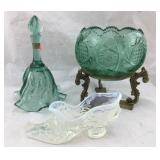 Fenton Glass Shoe, Bell, Bowl on Stand
