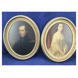 Pair of Vintage Portrait Prints in Oval Frames