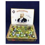 Cigar Box of Vintage Marbles and Other Glass Balls