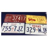 4 Vintage Texas and Indiana License Plates