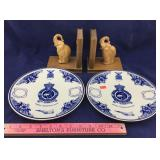 Vintage Delft Christmas Plates & Elephant Bookends