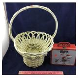 Wicker Basket & Tin Olivia Lunch Box