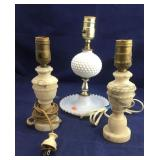 Pair of Small Alabaster Lamps Plus Milkglass Lamp