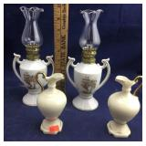 Pair of Holly Hobbie Oil Lamps and Limoges Urns