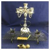 Candelabra and Black Metal Dual Candle Holder Plus