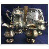 4 Matching Coffee Set Pieces on Metal Tray