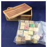 Bag of Vintage Wooden Blocks and Small Cedar Box