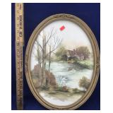 Vintage Oval Framed Cottage With Swan on a Pond