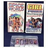 Pair of Spice Girl VHS Tapes Plus Tiny Figure Set