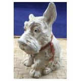 Metal White Scottie Dog or Westie Bank With Key