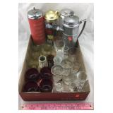 Collection of Vintage Liquor Glasses & Shakers