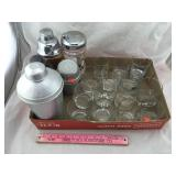 Collection of Liquor Glasses & Vintage Shakers