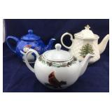 Trio of Christmas Teapots