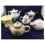 Variety of 6 Teapots